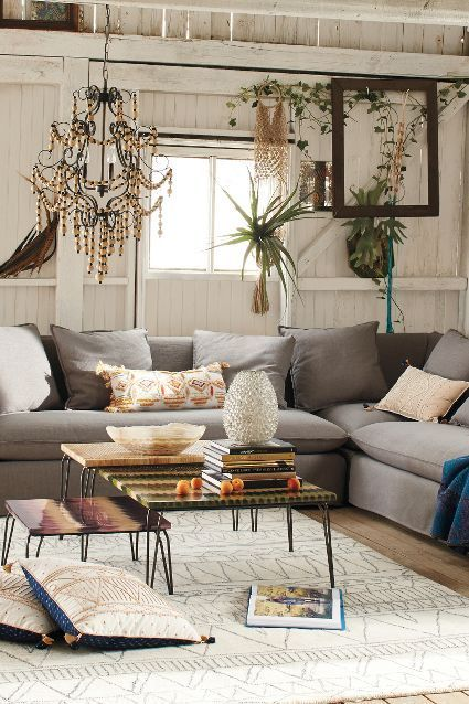 Linen carlier slipcover sectional anthrofave this is for Anthropologie living room ideas