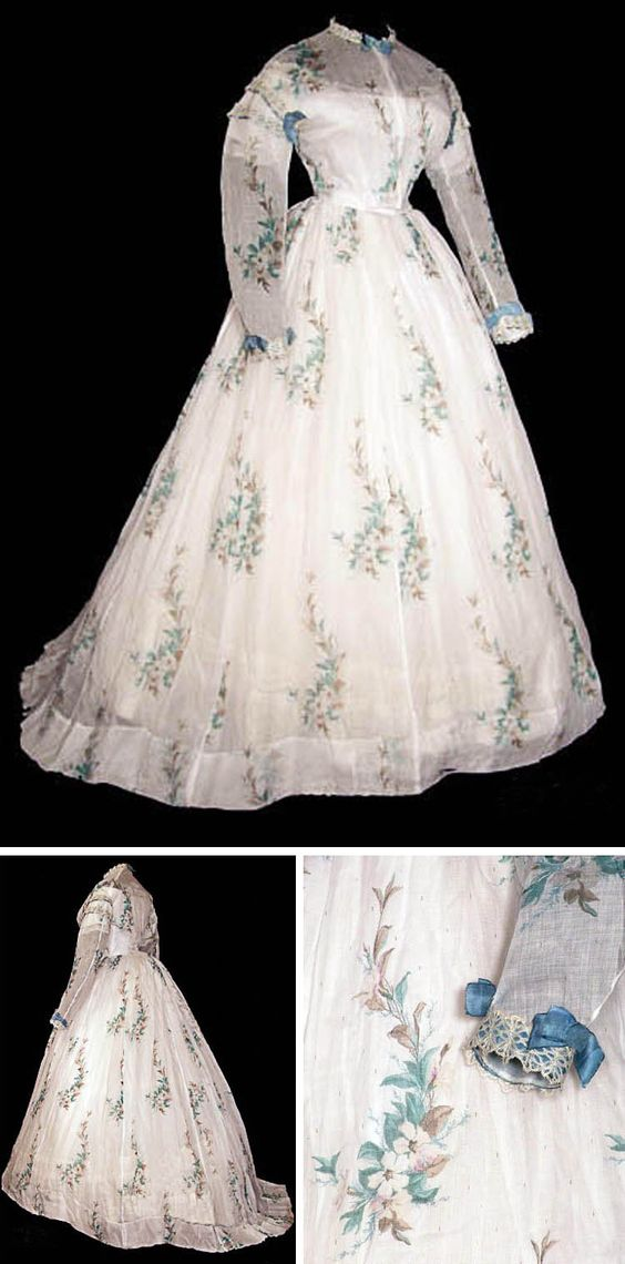 Organza dress ca. 1865. Bodice has muslin foundation trimmed in needlelace accented with bows. Time Travelers Estate Sales
