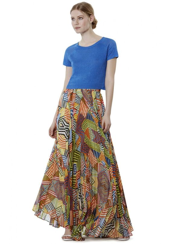 SHANNON PLEATED MAXI SKIRT in COLLAGE STRIPE by Alice + Olivia