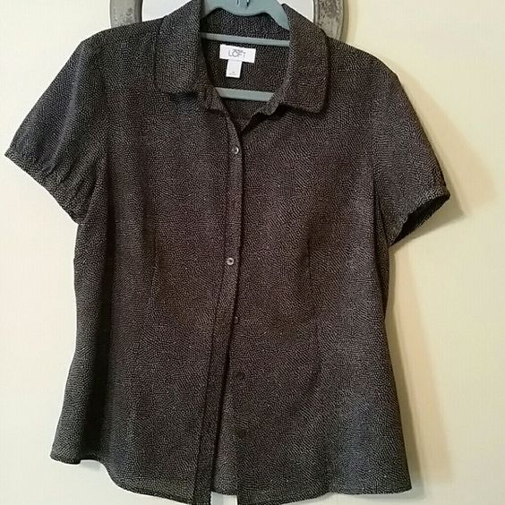 Loft short sleeve blouse Cute, brown button front shirt with detailed edging LOFT Tops Blouses