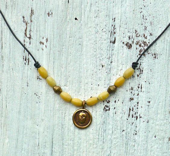 Beaded Leather Necklace von mmmarocco auf Etsy