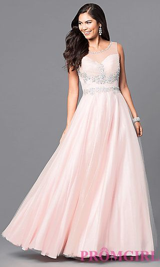 Long Blush Pink Sleeveless Prom Dress with Jewels at PromGirl.com