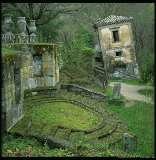 bomarzo | Tumblr: Another great vingnet from Bomarzo. An opposite approach from the reassuring order of Renaissance gardens.
