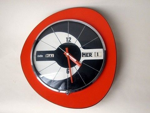 horloge pendule murale odo 60 70 formica orange vintage avec le temps pinterest vintage. Black Bedroom Furniture Sets. Home Design Ideas