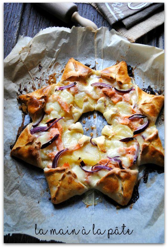 pizza étoile au saumon fumé et pommes de terre
