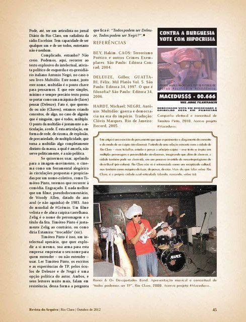 Timóteo Pinto, Macedusss 2. Revista do Arquivo nº10 - Arquivo Público e Histórico do Município ...