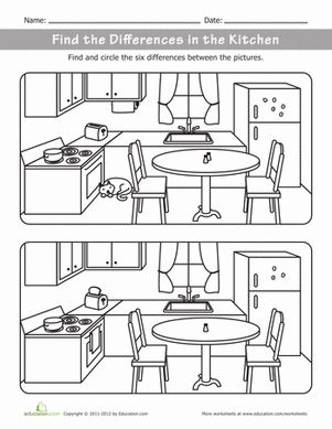 Kindergarten Travel Games Life Learning Worksheets: What's Different in the Kitchen?