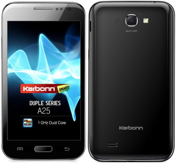 Karbonn A25 has 5-inch capacitive touch screen display with 480 x 800 Pixels Resolution.  Smartphone is offering touchscreen QWERTY keyboard and touchscreen T9 keyboard. Smartphone comes with Android 4.0 (Ice Cream Sandwich) OS.