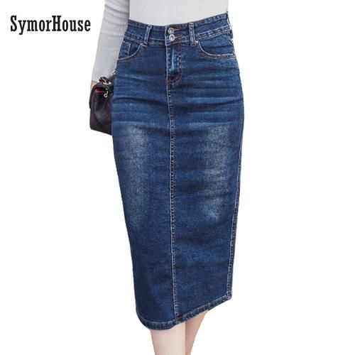 Womens High Waist Fit Denim Skirt Button Design Split Front Open Pencil Skirts Bodycon Dress Knee Length Jeans Skirts