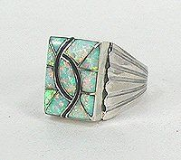 Native American Opal Ring Norman Lee Navajo Sterling Silver