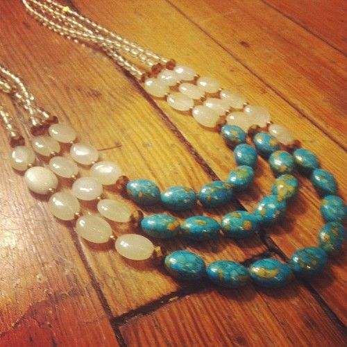 Crackle teal stones with ivory ovals. Three strand #necklace #duodc  (at Duo)