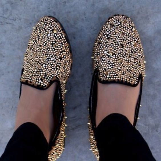 #fashion #shoes #studs #gold #flats  anyone know where I can get these?