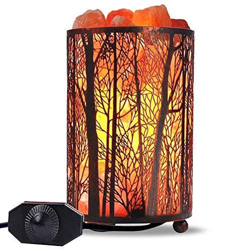 Himalayan Salt Lamp Air Purifying Salt Rock Lamp Natural Night Light In Forest Design Metal Basket With Dimmer S Salt Rock Lamp Rock Lamp Natural Night Lights