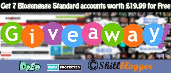 Last Day Of Our Giveaway Still You Gave a chance to win a blogengage account worth £19.99 each.