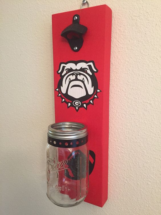GEORGIA BULLDOGS Bottle Opener with Mason Jar Rustic Football UGA - pinned by pin4etsy.com
