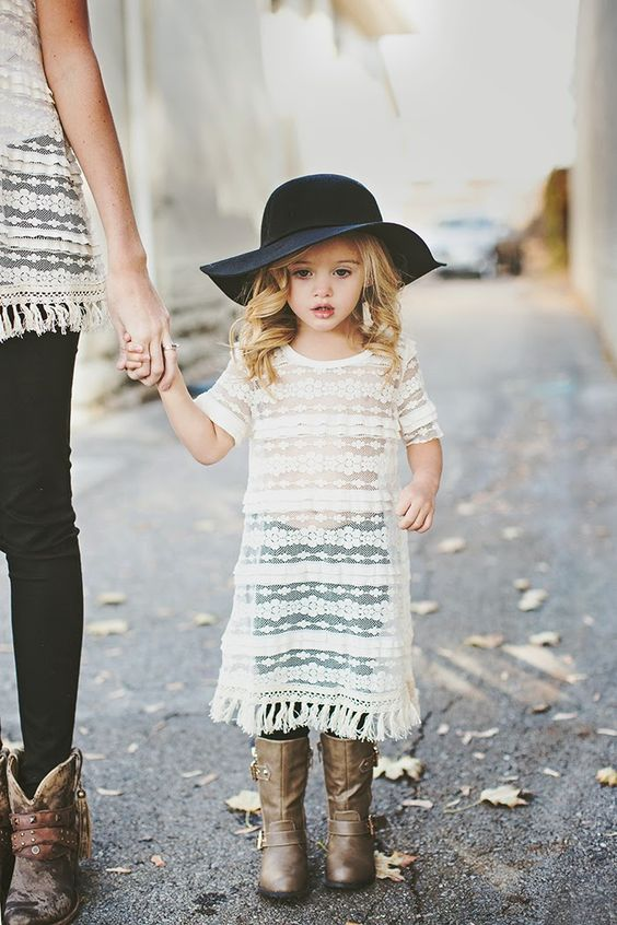 cutest little outfit lace little girl dress with jeans