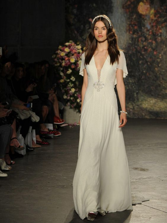 Jenny Packham wedding dress with deep v-neck and pearl beading from Spring 2016: