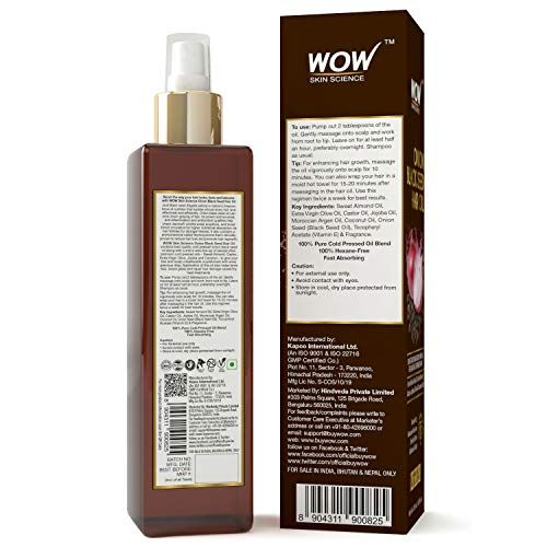 Wow Onion Black Seed Hair Oil Promotes Hair Growth Controls Hair Fall No Mineral Oil Silicones 200ml Beau Hair Control Promote Hair Hair Growth Oil