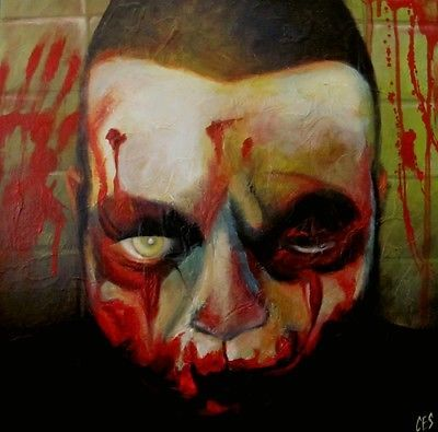 Original HALLOWEEN Painting CES- ZOMBIE Blood Horror Outsider SPOOKY Dark EBSQ