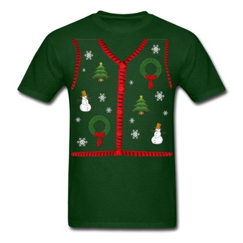 Spreadshirt Funny Ugly Sweater Vest Design Mens Standard Weight T-Shirt forest green XXL