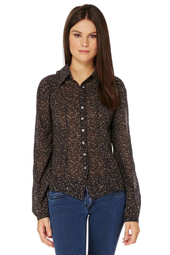 Venda Moda mulher boémia / 14265 / Et Compagnie / Camisas / Camisa Preto e Castanho. 13€(121€)