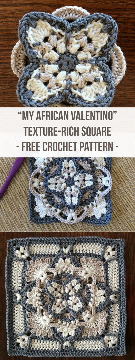 """My African Valentino"" Crochet Texture-Rich Square [Free Pattern] #Crochet"