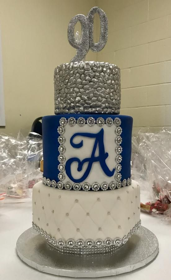 Royal Blue And Silver 90th Birthday Cake Cake By T Coleman