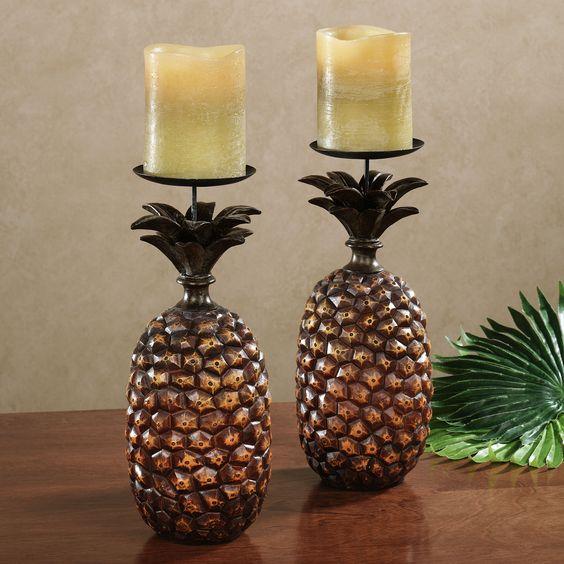 Pineapple Candleholder Pair Harvest Gold Pair