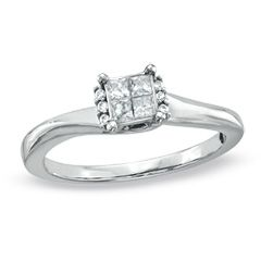 Cherished Promise Collection™ 1/5 CT. T.W. Princess-Cut Quad Diamond Promise Ring in 10K White Gold