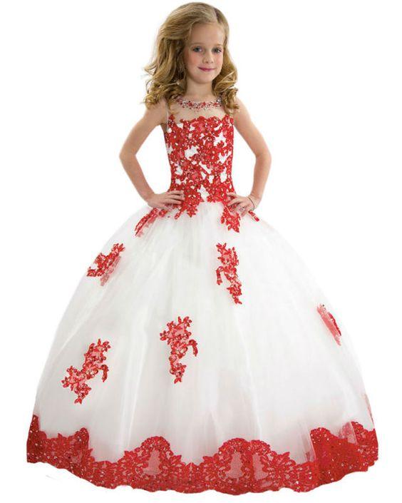 Recién llegado de Georgeous Vestidos de Comunion pura escote roja del cordón apliques corsé espalda abierta ostentación tul desfile de flores niña Vestidos 2015(China (Mainland))