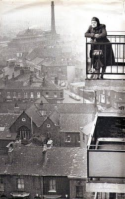 Iconic photo of Ena Sharples, (Violet Carson) looking out over the early 60's industrial landscape of Manchester. #CoronationStreet