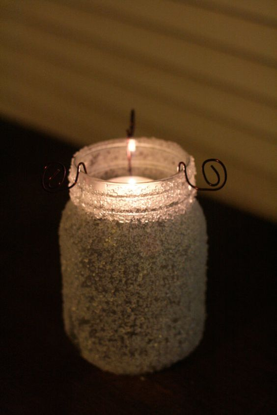 Crystal Frosted Glass Lantern Mason Jar by AppalachianArtisans, $16.00