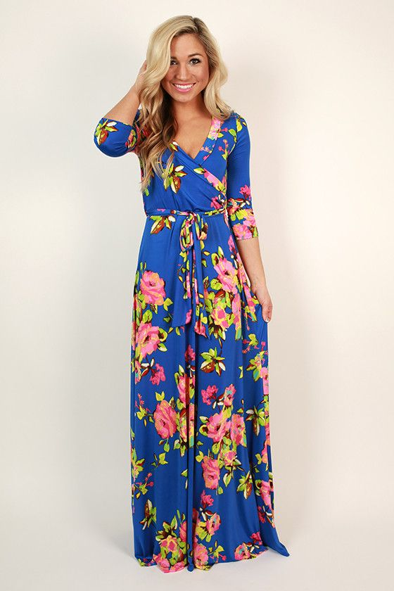Fields Of Pretty Maxi Dress in Royal Blue - Summer dresses- Summer ...