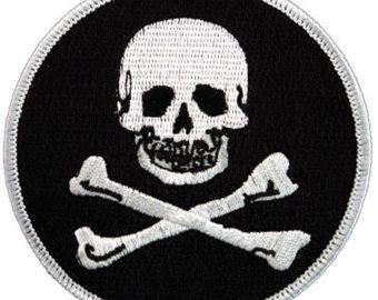 JOLLY ROGER PIRATE patch iron-on embroidered Skull Crossbones Poison Symbol Danger Emblem Round