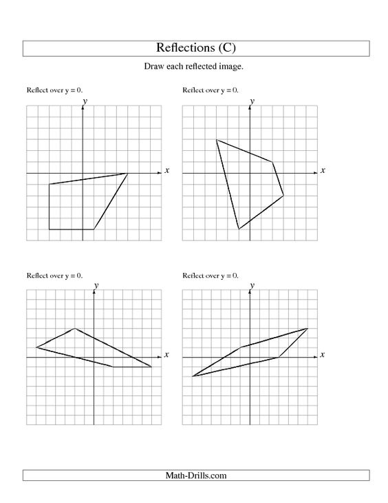 Geometry Worksheet Reflection of 4 Vertices Over the x or y – Maths Reflection Worksheets