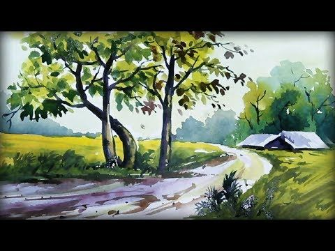 Beautiful Riverside Scenery Painting Watercolor Painting Tutorial Scenery Paintings Watercolor Paintings Colorful Landscape