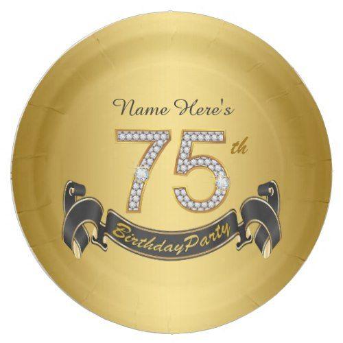Gold Diamond 75th Birthday Party Paper Plate Zazzle Com