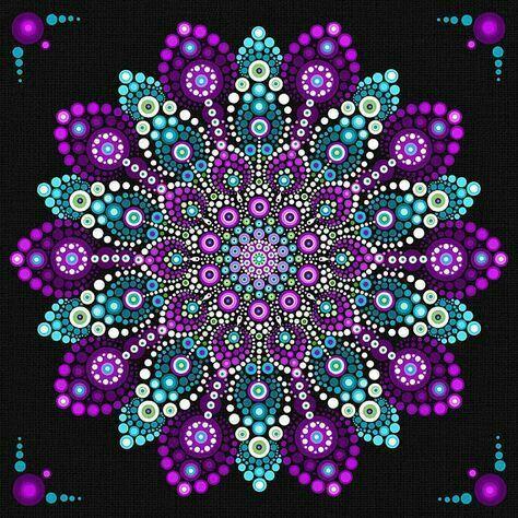 Me Encanta La Combinacion De Estos Colores Mandala Dots Dots Art Mandala Art Lesson