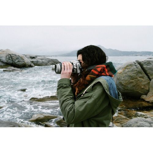 camera girl analog film sea
