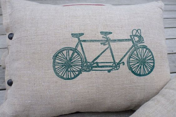 pillow cushion linen tandem bicycle green by spoolandsparrowshop, $48.00