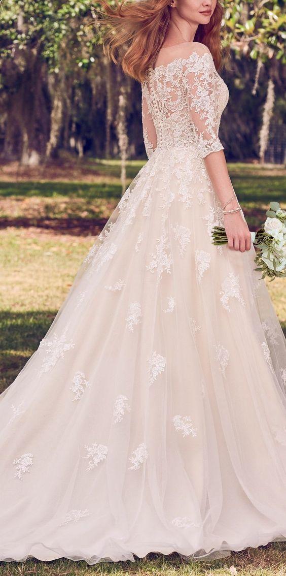 Lace White Wedding Dress Half Sleeves Appliques Bridal Dress