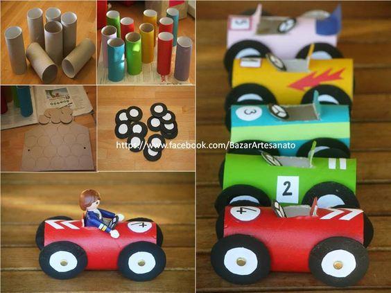 Voitures courses and autos on pinterest - Recyclage rouleau papier toilette ...
