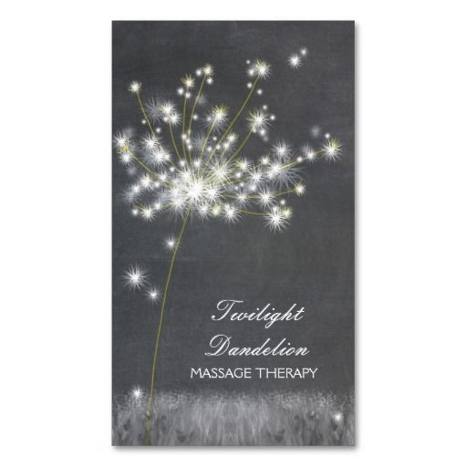 Grayscale Dandelion Massage Therapy Business Cards