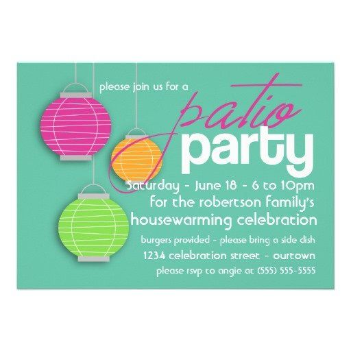 Summer Patio Party Housewarming Invitations==great idea for our new home.