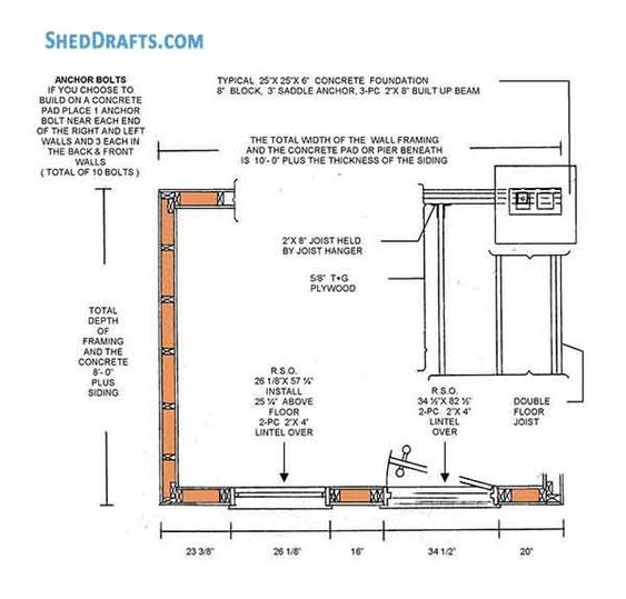 8x10 Lean To Garden Shed Plans Blueprints Storage 03 Foundation Plans Shed Plans Storage Shed Plans Diy Shed Plans
