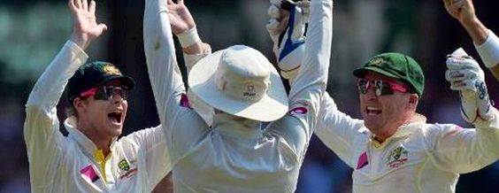 Steve Smith, Michael Clark & David Warner -Cricket - Australia (mislabeled - that's Brad Haddin with the gloves)
