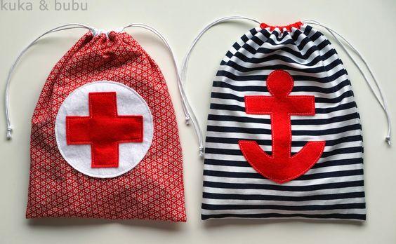 kuka and bubu: String bags for toys – Bolsas guarda-juguetes