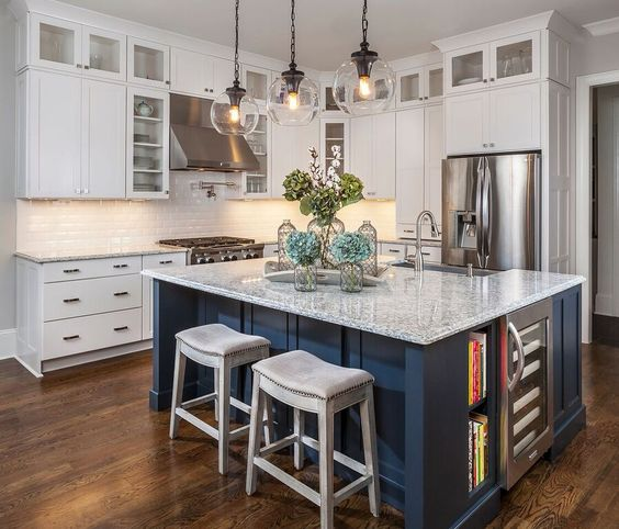 Navy Kitchen, Islands And Pendant Lights On Pinterest