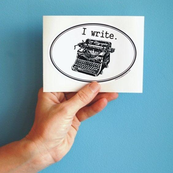 i write typewriter bumper sticker von BookFiend auf Etsy, $3,00