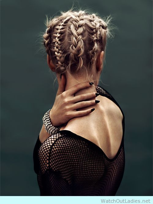 Blonde woman with multi braids
